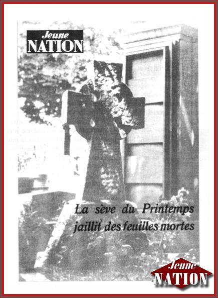 """Visuel """"vieille école"""" de Jeune nation."""