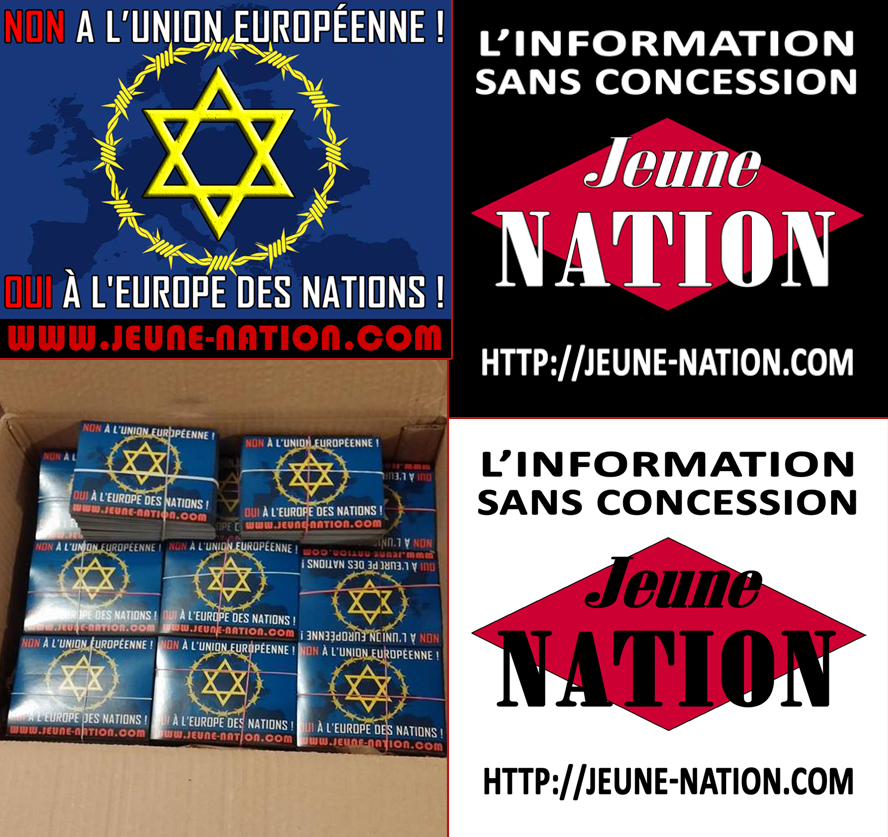Nouvel autocollant Jeune nation «Non à l'Union européenne»