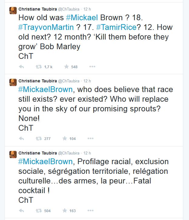 Ferguson : Taubira Dévoile Sa Vision Raciste De La