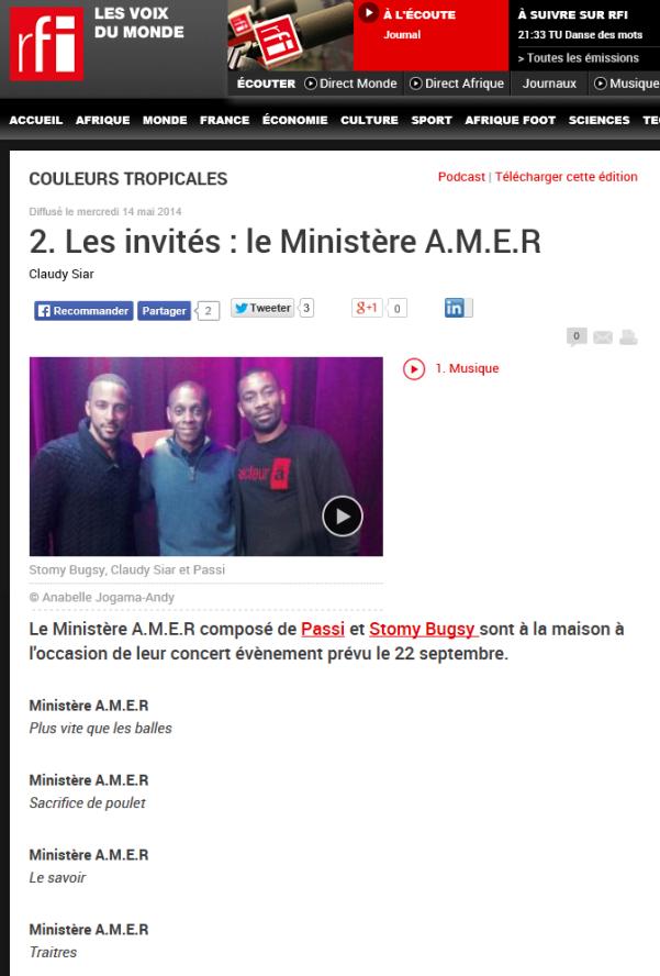 Publicité offerte par la radio publique RFI au nom de la solidarité raciale africaine.