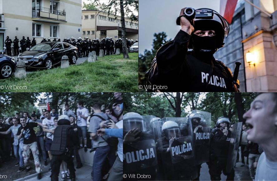[Les simples policiers ont laissé la place aux forces anti-émeutes]