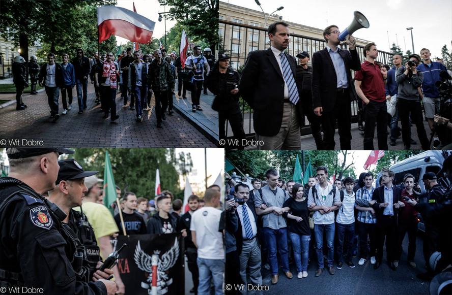 [« La Pologne est à nous ! La Pologne est à nous ! Pas à Donald et ses chiens ! » clament les manifestants]
