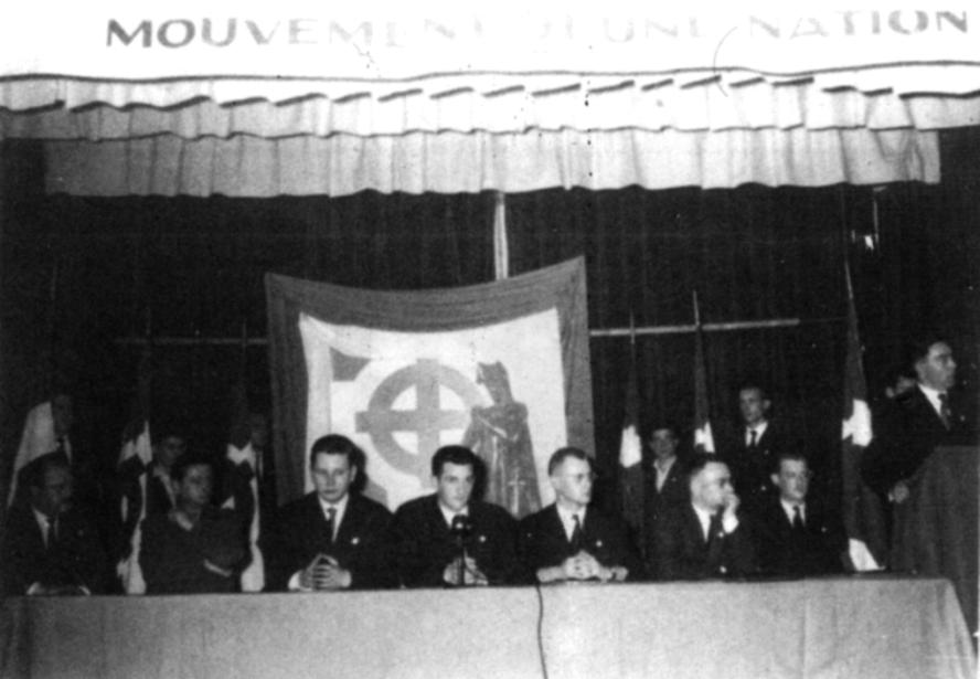 Réunion du mouvement Jeune nation à la fin des années 1950 à Orléans, sur le thème : Aujourd'hui, Orléans, c'est Alger.