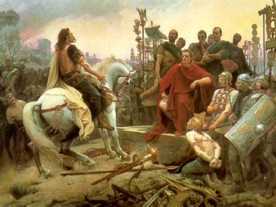 Vercingétorix jette ses armes aux pieds de César par Lionel Royer.
