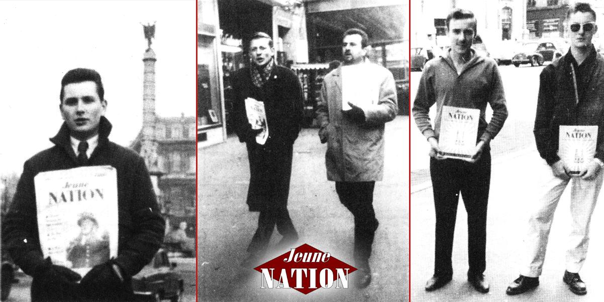 """Jeune nation """"premières époque"""" était présent partout en France, grâce à l'action efficace de nombreux militants. Ventes à la criée du journal à Paris, Marseille et Alger (de gauche à droite)."""