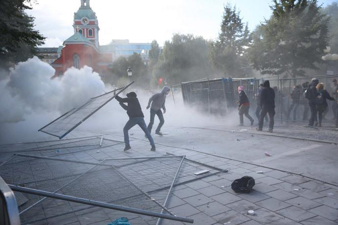 """Les militants """"pacifiques"""" d'extrême gauche."""