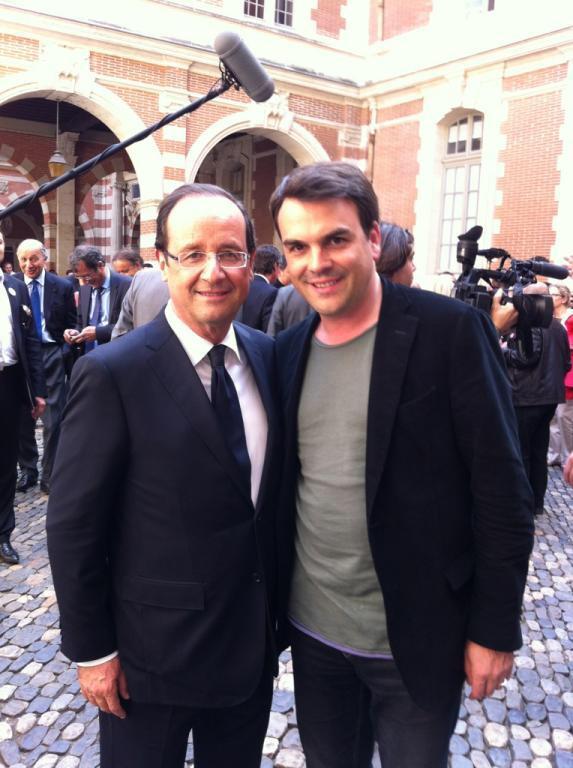François Hollande et Thomas Thévenoud, probablement à la sortie d'un séminaire sur la République exemplaire.