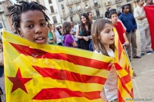 Les indépendantistes de Catalogne affichent leurs couleurs lors d'une récente manifestation.