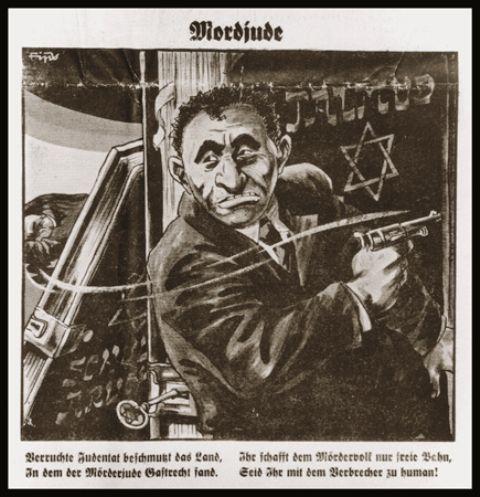 Dessin représentant le criminel juif Herschel Grynszpan