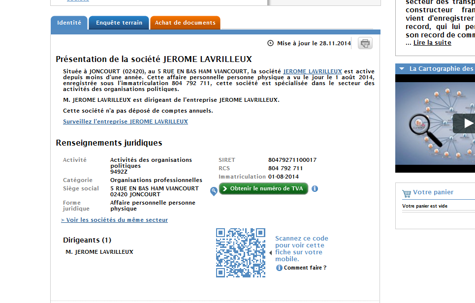 La société Jérôme Lavrilleux (source : societe.com)