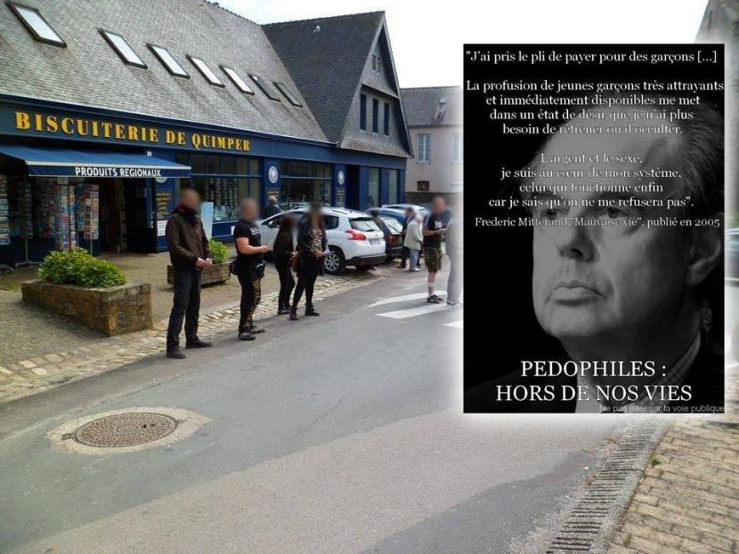 Action nationaliste contre le pédocriminel Frédéric Mitterrand à Quimper