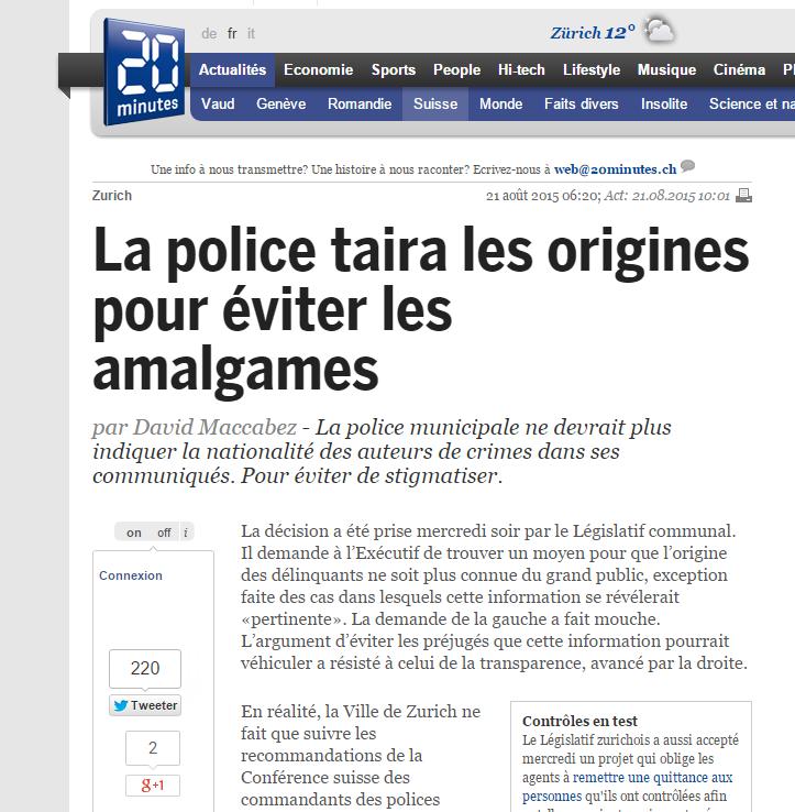 «La police taira les origines pour éviter les amalgames»: Zurich en plein cauchemar orwellien