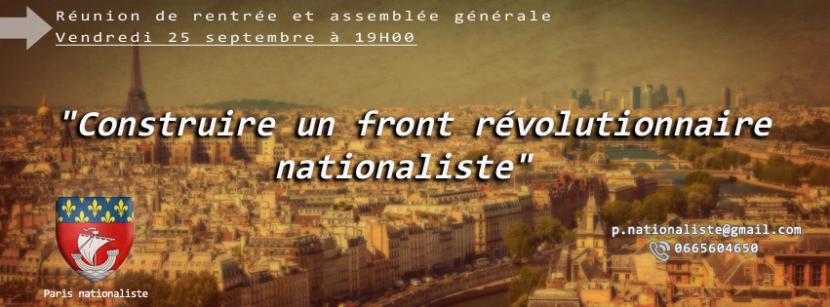 Réunion de rentrée et assemblée générale de Paris Nationaliste