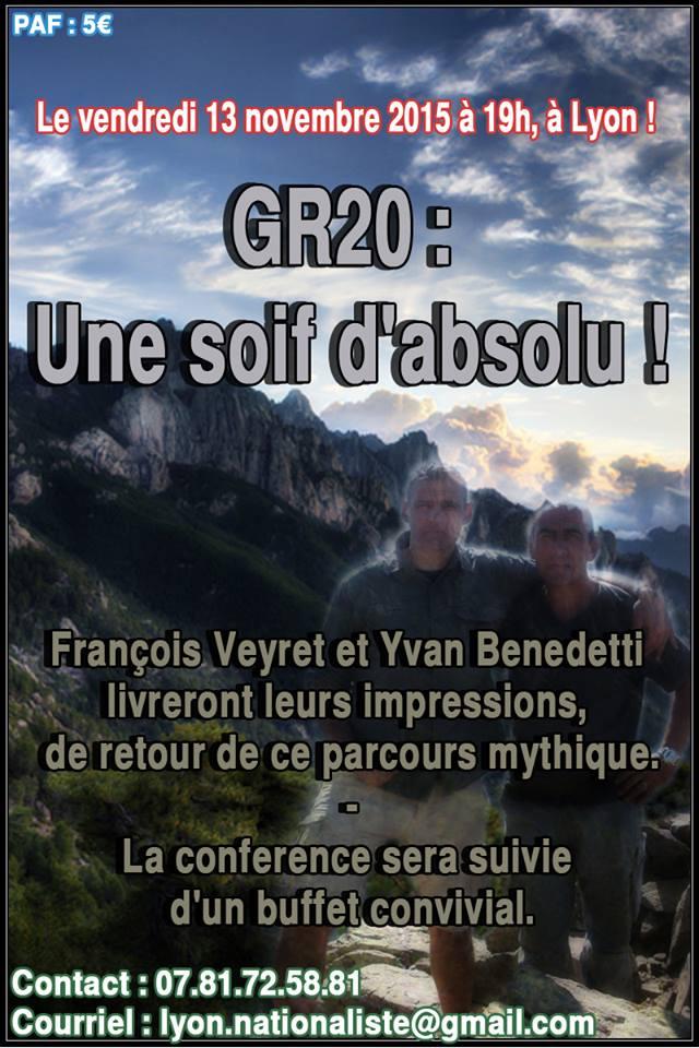 Lyon : conférence sur le thème «GR 20 : une soif d'absolu»