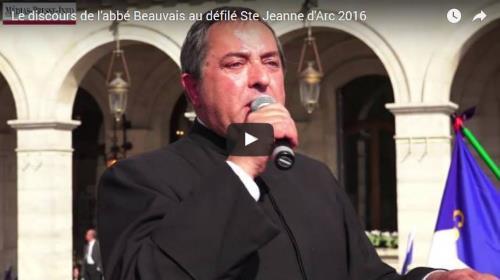 Discours de l'abbé Xavier Beauvais au défilé de sainte Jeanne d'Arc