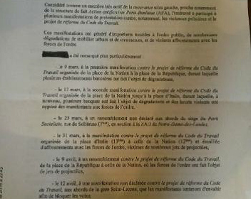 Neuf des dix interdictions de manifester suspendues