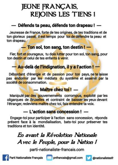 Tract du Parti Nationaliste Français à destination de la jeunesse !