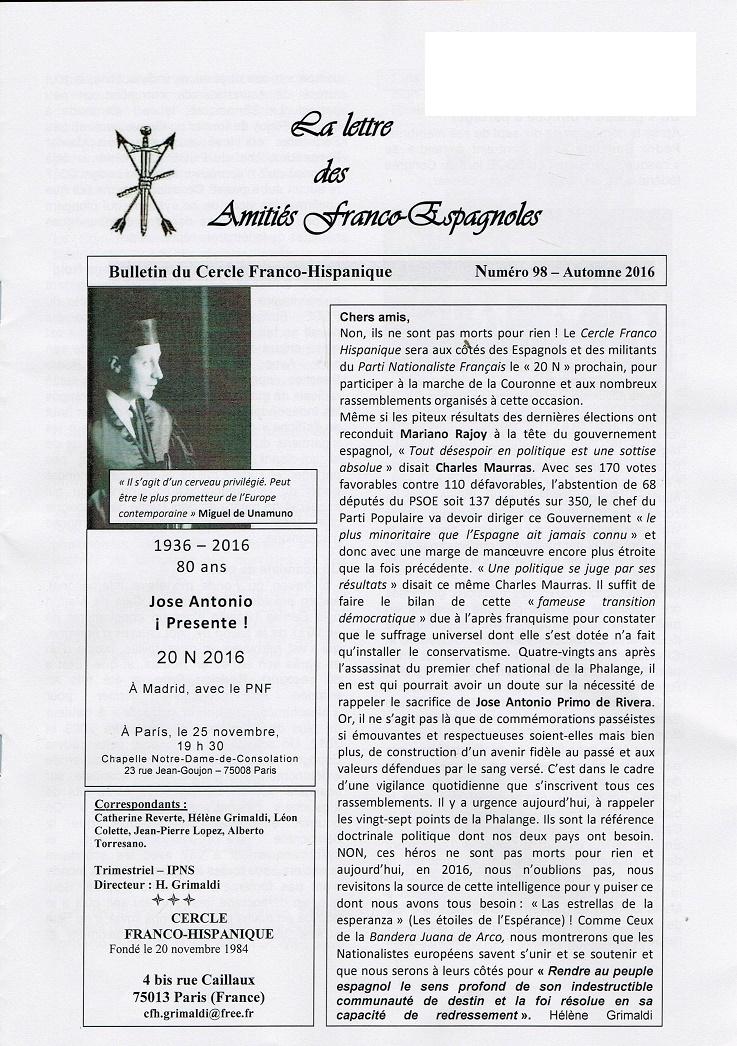 La Lettre des amitiés Franco-Espagnoles N° 98 – automne  2016