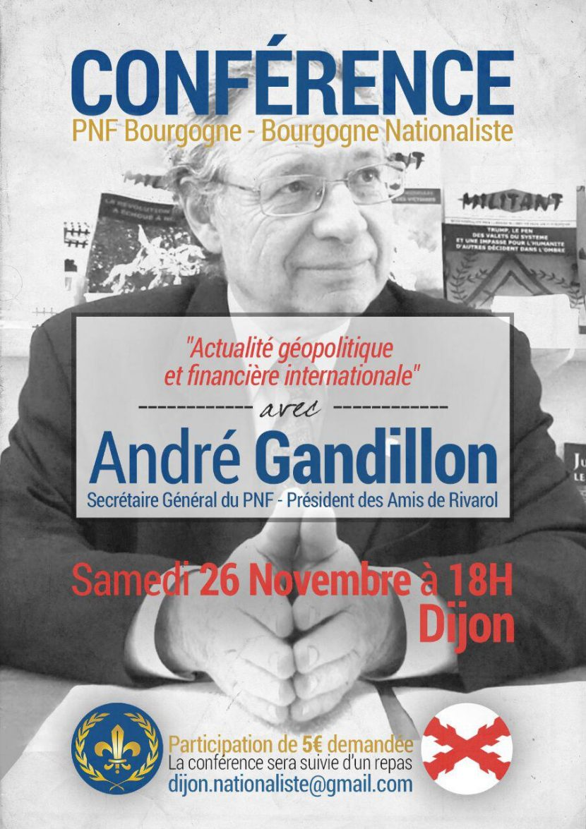 Conférence d'André Gandillon à Dijon, le 26 novembre – 18h00