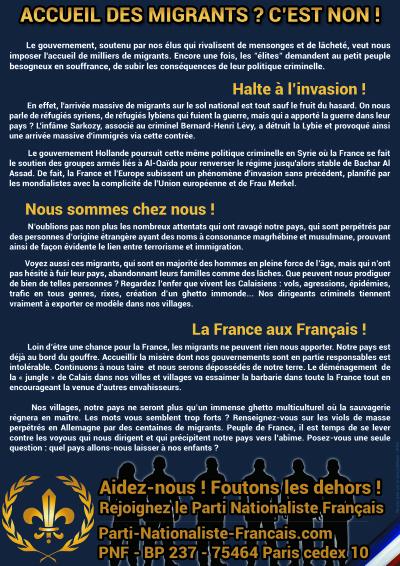 Tract du Parti Nationaliste Français sur les migrants
