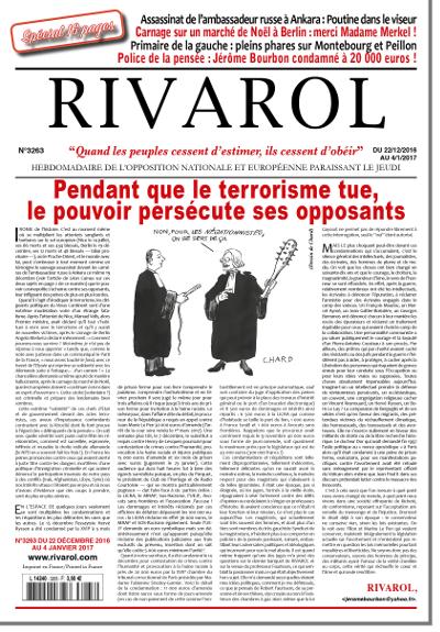 Rivarol N° 3263 du 22 décembre 2016  – Spécial 16 pages