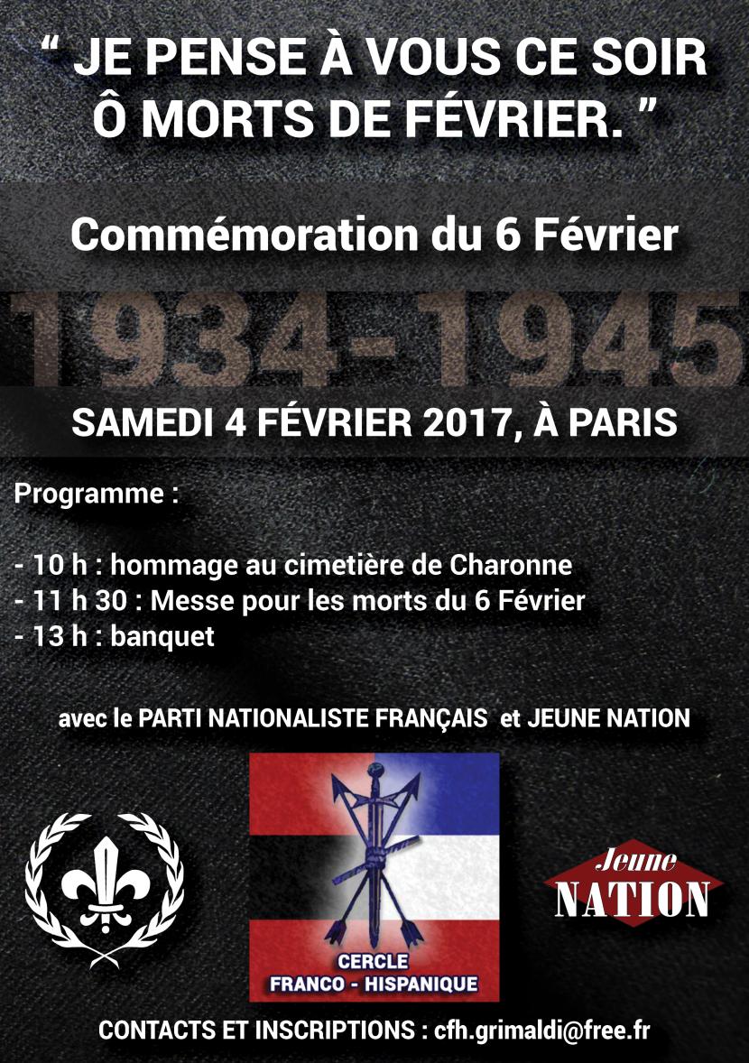 Commémoration du 6 février à Paris le samedi 4 février 2017
