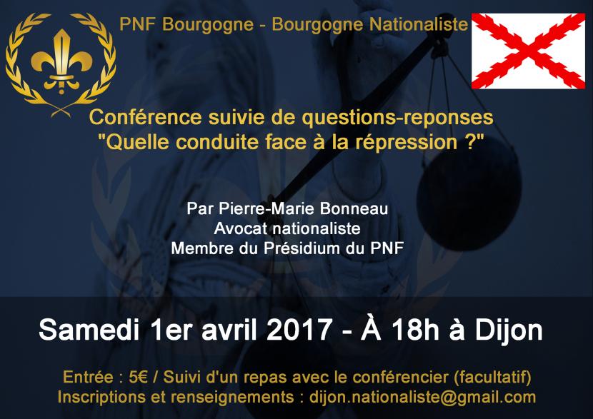 Dijon : Conférence «Quelle conduite face à la répression ?»