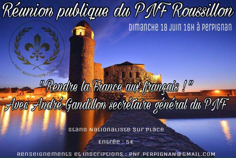 Perpignan : Réunion publique du PNF 66 avec André Gandillon
