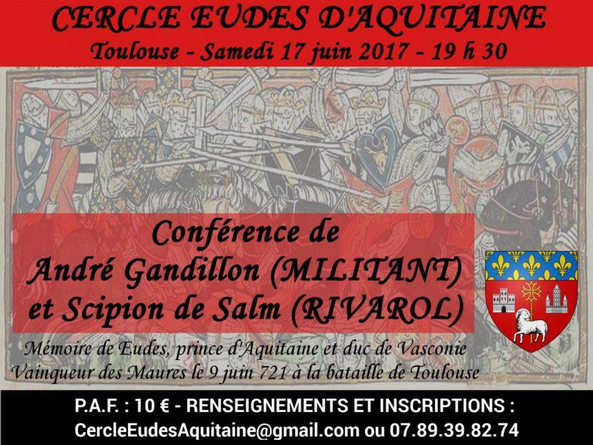 Toulouse : 1ère conférence du Cercle Eudes d'Aquitaine