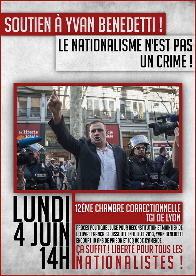 Soutien à Yvan Benedetti ! Le nationalisme n'est pas un crime !