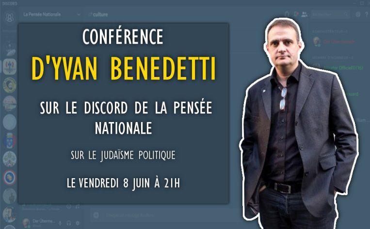 Conférence virtuelle d'Yvan Benedetti le 8 juin 2018 à 21 heures