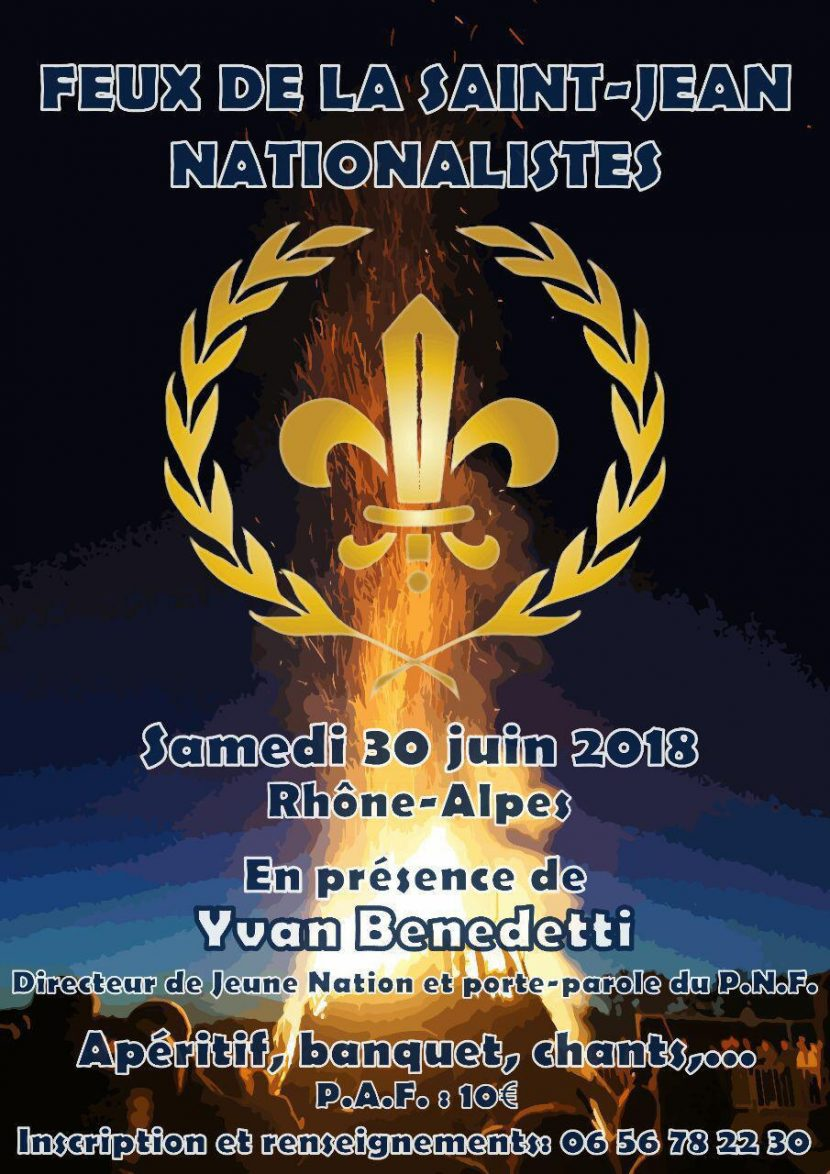 Feux de la Saint-Jean nationalistes en Rhône-Alpes le 30 juin 2018