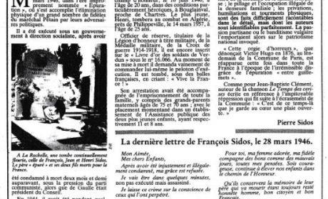 28 mars 1946: assassinat de François Sidos par ceux qui se prétendaient des «épurateurs»