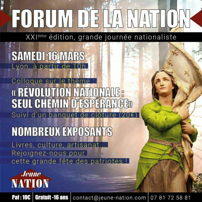 XXIe Forum de la Nation – Samedi 16 mars 2019 – Lyon