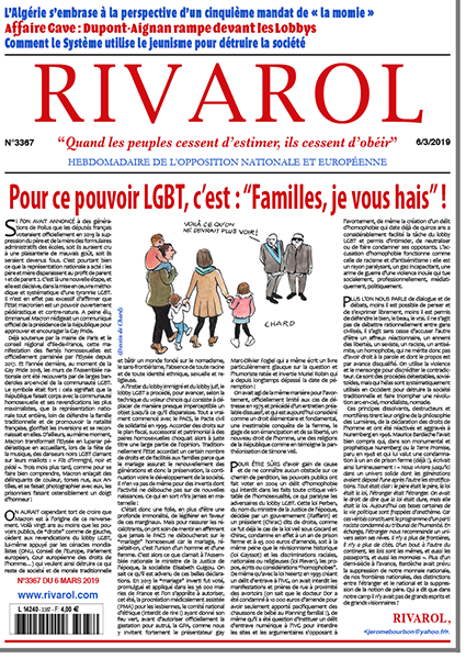 """Pour ce pouvoir LGBT, c'est: """"Familles, je vous hais""""!"""