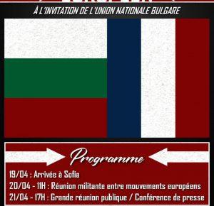 Congrès nationaliste européen – Sofia – 20 et 21 avril 2019
