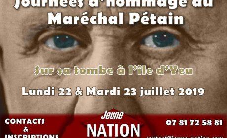 Hommage nationaliste à Philippe Pétain – 22 et 23 juillet 2019 – Île d'Yeu