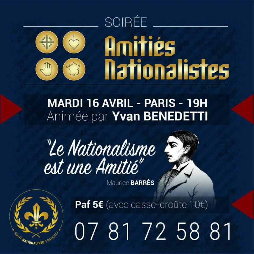 Soirée d'amitié nationaliste – Paris – 16 avril 2019