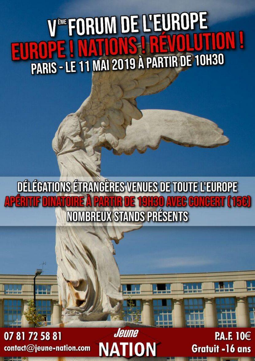 Europe! Nations! Révolution! – Ve Forum de l'Europe – Samedi 11 mai 2019 (m.a.j. programme et invités)