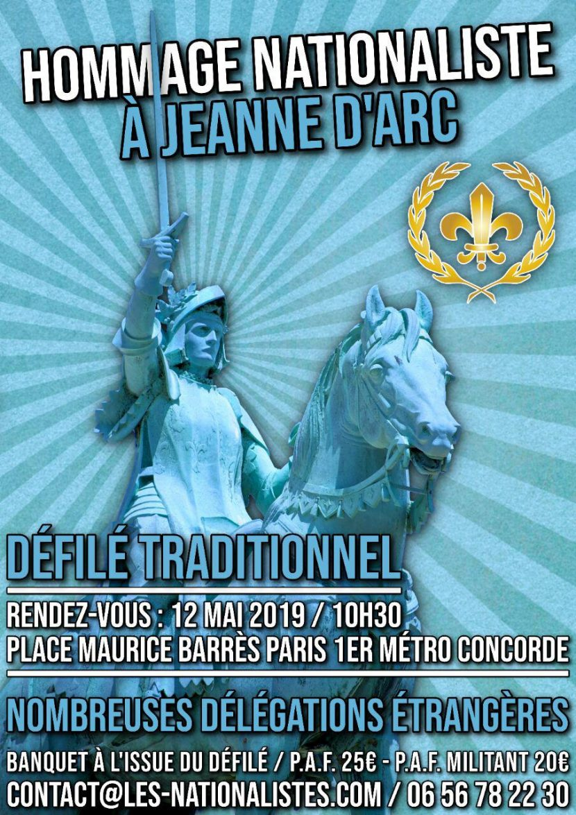 Hommage nationaliste à Jeanne d'Arc – 12 mai 2019 – Paris