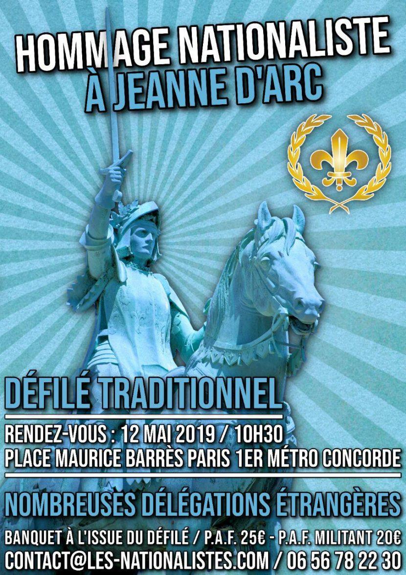 Hommage nationaliste à Jeanne d'Arc – 12 mai 2019 – Paris