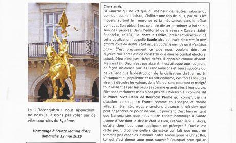 Nouveauté : Lettre des Amitiés Franco-Espagnoles – N° 104 Printemps 2019