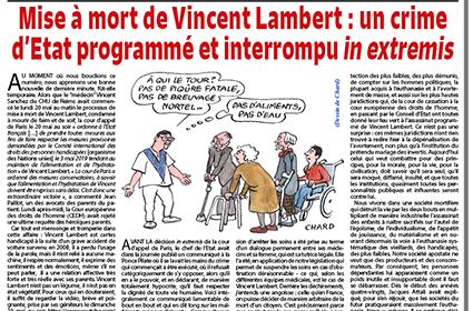 Mise à mort de Vincent Lambert: un crime d'Etat programmé et interrompu in extremis