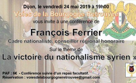 La victoire du nationalisme syrien par François Ferrier – Dijon – 24 mai 2019