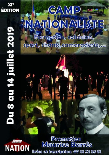 XIe Camp nationaliste de Jeune Nation – 8 au 14 juillet 2019 – Promotion Maurice Barrès