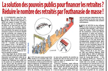 La solution des pouvoirs publics pour financer les retraites?  Réduire le nombre des retraités par l'euthanasie de masse!