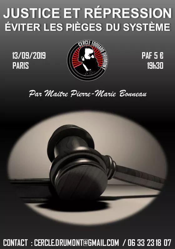 Justice et répression par Me Bonneau – Cercle Edouard Drumont – 13 septembre 2019