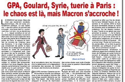 GPA, Goulard, Syrie, tuerie à Paris : le chaos est là, mais Macron s'accroche !  