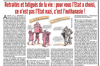 Retraités et fatigués de la vie: pour vous l'Etat a choisi, ce n'est pas l'Etat nazi, c'est l'euthanasie!
