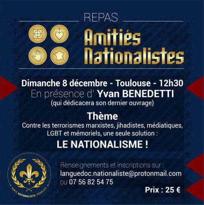 Repas d'Amitiés Nationalistes en présence d'Yvan Benedetti – Toulouse – 8 décembre 2019